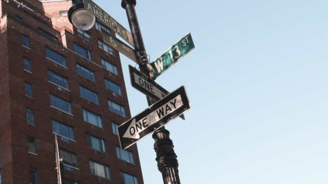 wide angle shot of a new york city intersection on a blue sky afternoon. - one way stock videos & royalty-free footage