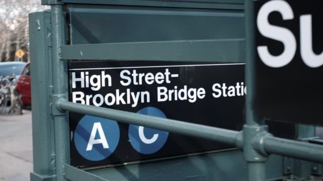 wide angle shot of a new york city subway station at brooklyn bridge high street - brooklyn new york stock videos & royalty-free footage