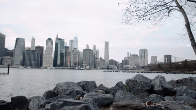 Wide angle shot of Lower Manhattan and The Brooklyn Waterfront.