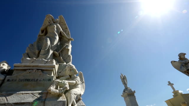 wide angle shot of marble statues depicting angels in old cemetery. - female likeness stock videos & royalty-free footage