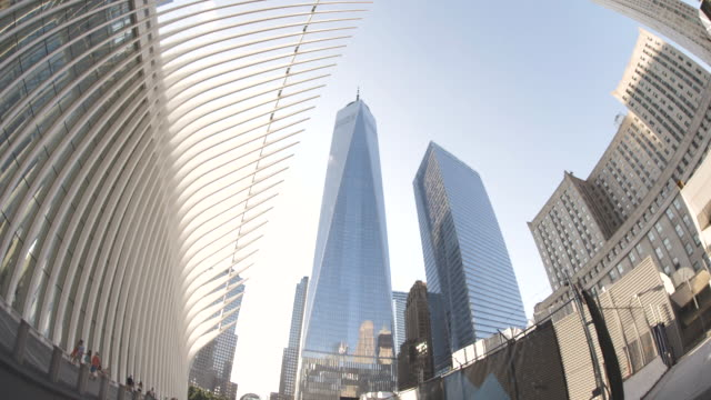 wide angle shot of new york city's world trade center at sunset - fish eye lens stock videos & royalty-free footage