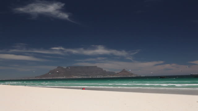 Wide angle shot of Table Mountain from Bloubergstrand
