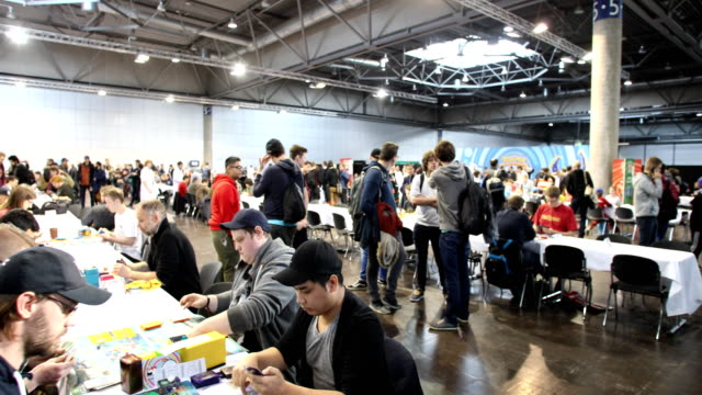 wide angle shot of the pokemon championship at the 2018 dreamhack video gaming festival on january 27, 2018 in leipzig, germany. the three-day event... - pokémon stock videos & royalty-free footage