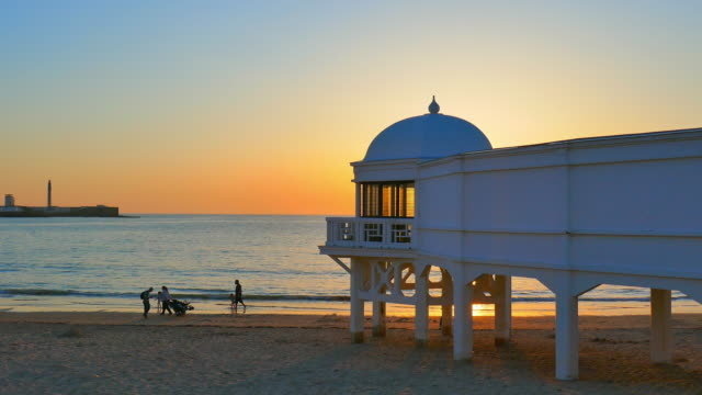 wide angle: structure on a beach in cadiz - andalucia stock videos & royalty-free footage