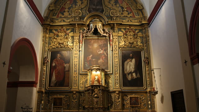 wide angle, tilt down altar in the chapel of the castle in javer. birth side of francisco de xavier the first jesuit missionary. - missionary stock videos & royalty-free footage