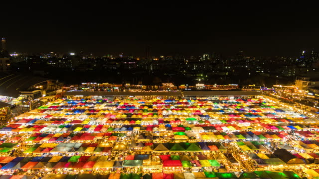 wide angle view of colorful night market - night market stock videos & royalty-free footage