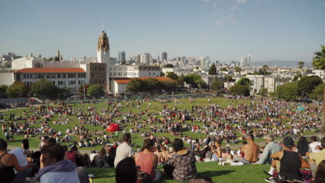 wide angle view of dolores park, san francisco - san francisco california video stock e b–roll