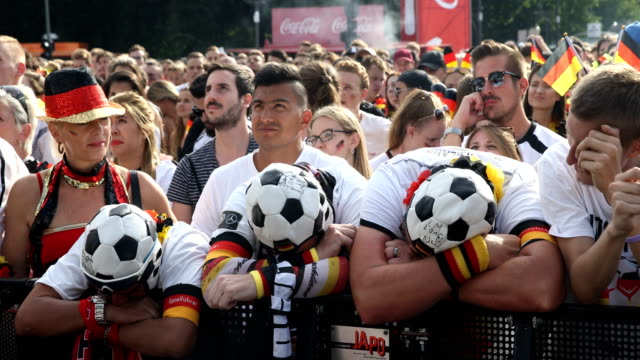Wide angle view of German fans who are getting upset after Germany lost the 2018 FIFA World Cup Russia Group F match against Korea Republic at the...