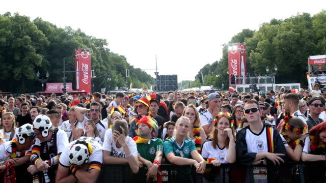 Wide angle view of German fans who are getting upset and are crying after Germany lost the 2018 FIFA World Cup Russia Group F match against Korea...