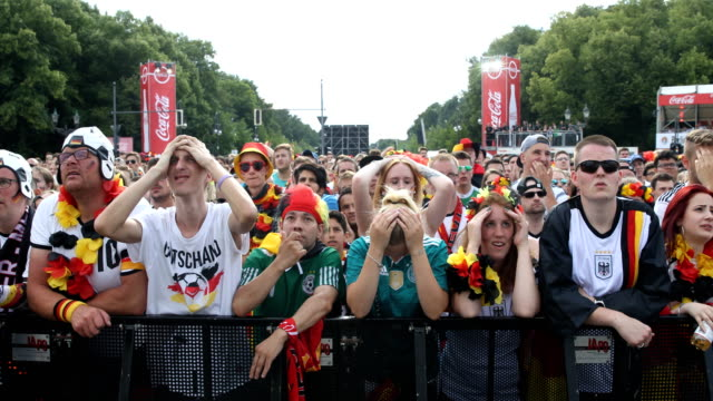 Wide angle view of German fans who cannot understand the world after Germany is losing the 2018 FIFA World Cup Russia Group F match against Korea...