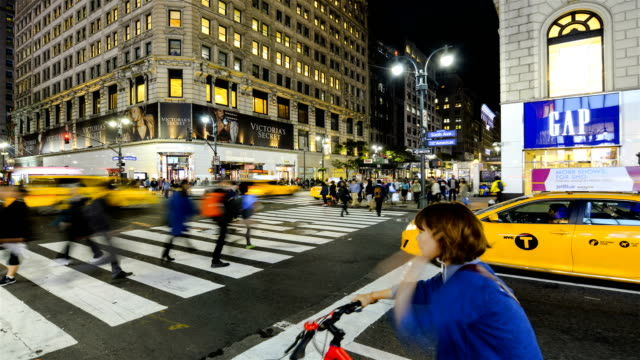 Wide angle view of Herald Square 34th Street in Midtown Manhattan / Among the big name stores in this very popular commercial shopping district are...