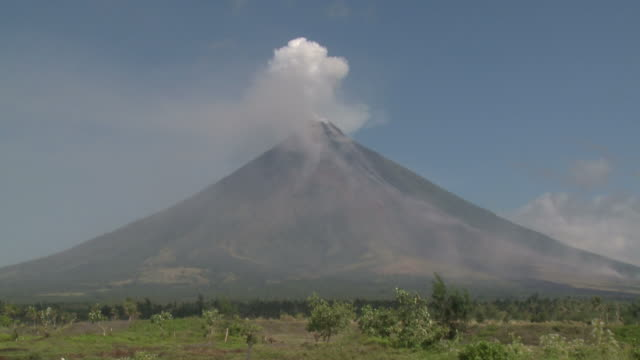 Wide angle view of perfectly cone-shaped Mayon volcano, Philippines, Dec 2009