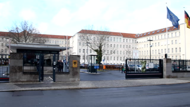 stockvideo's en b-roll-footage met wide angle view of the entrance of the federal ministry of defence on january 28 2019 in berlin germany - ministerie van defensie