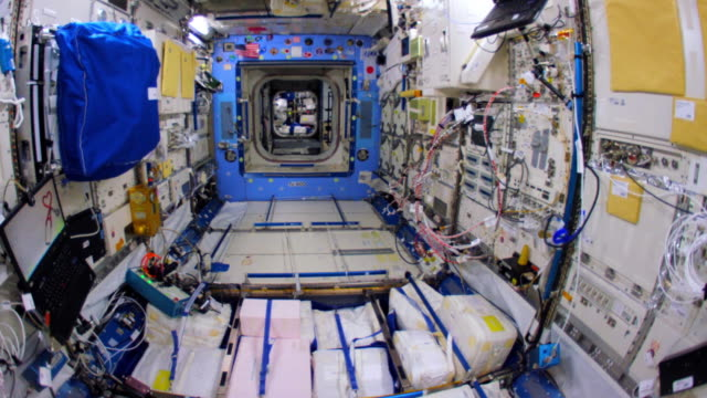 wide angle walkthrough of most parts of the spaceship which is the fruit of the international cooperation for space exploration this video is part of... - international space station stock videos & royalty-free footage