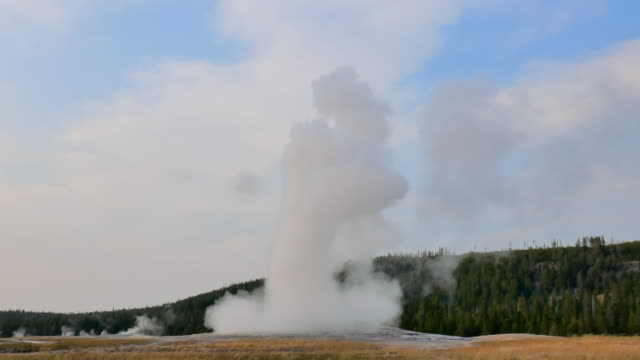 wide angle: water and steam coming out of old faithful geyser - geyser stock videos & royalty-free footage