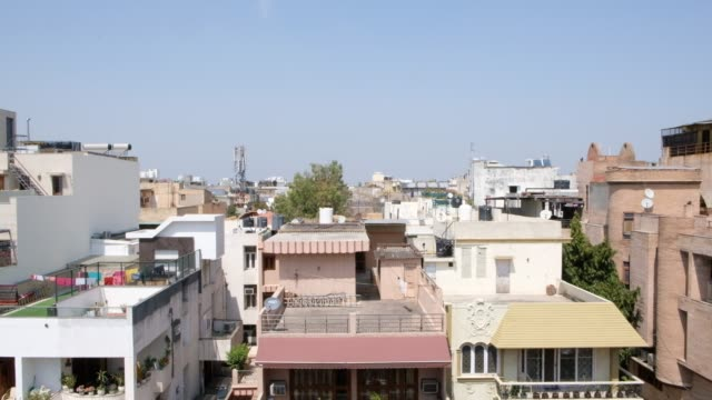 wide cityscape view of delhi city during the lockdown from a house terrace in daytime - india politics stock videos & royalty-free footage