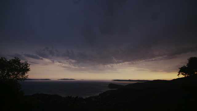 wide coastal sunset shot of purple sky with fade out - fade out stock-videos und b-roll-filmmaterial