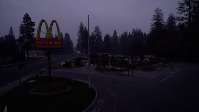 wide, destroyed mcdonalds from california wildfire - car park stock videos & royalty-free footage