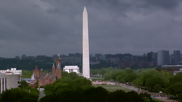 wide establishing shot of washington dc with the washington monument and the jefferson memorial visible along with bridges and traffic crossing the... - jefferson memorial stock videos & royalty-free footage