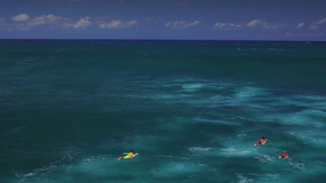 wide high angle aerial shot lowering to reveal three surfers paddling out past the break - kahuku stock videos & royalty-free footage