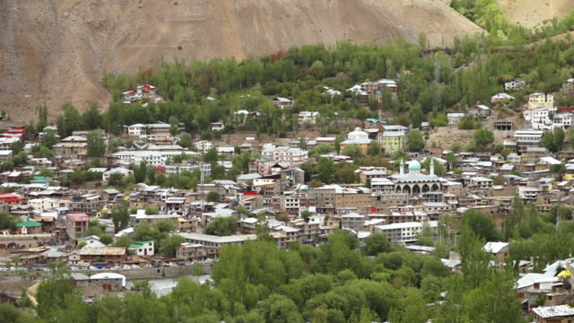 wide high angle view of kargil city, ladakh - plant attribute stock videos and b-roll footage