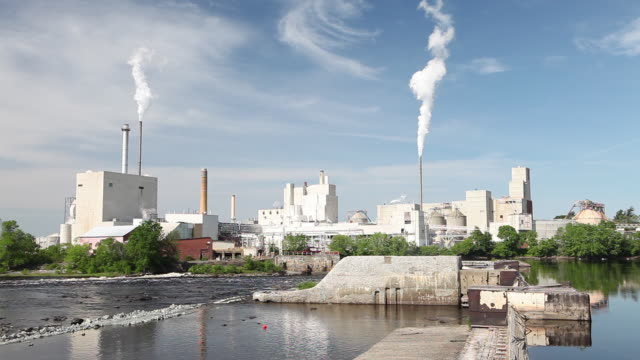 wide, industrial plant on penobscot river - new england usa stock videos and b-roll footage
