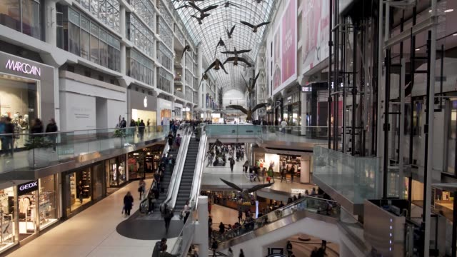 Wide interior timelapse of Eaton Centre in Toronto Ontario Canada on June 24 2017