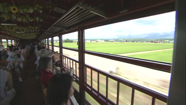 wide long shot of tourist train that travels between the city of furano and the town of bi'ei - biei town stock videos & royalty-free footage