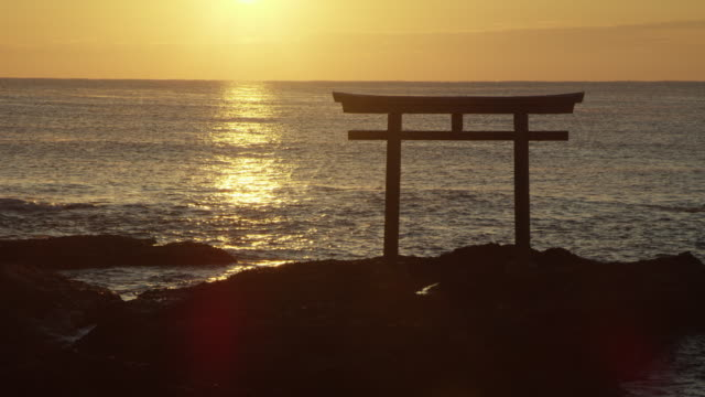 wide, oarai isosaki-jinja shrine sunset - shrine stock videos & royalty-free footage