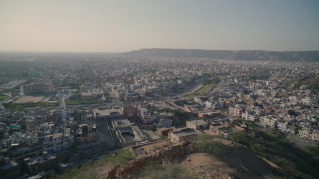 Wide of Jaipur at sunset from a mountain top view