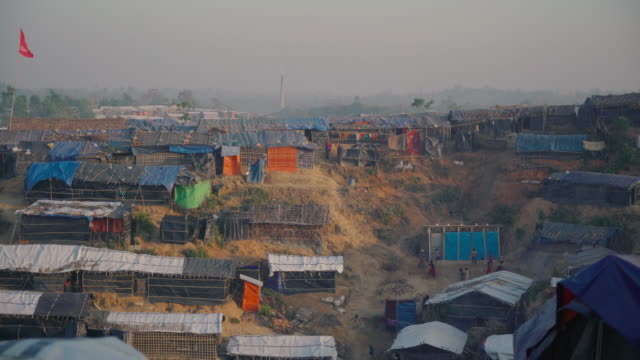 Wide of Kutupalong refugee camp in Bangladesh at sunset Fleeing persecution by the Myanmar government and Rakhine vigilantes the Muslim Rohingya have...