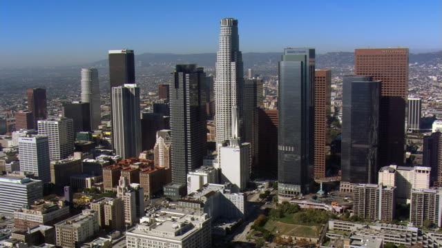 Wide orbit of Los Angeles financial district. Shot in 2008.