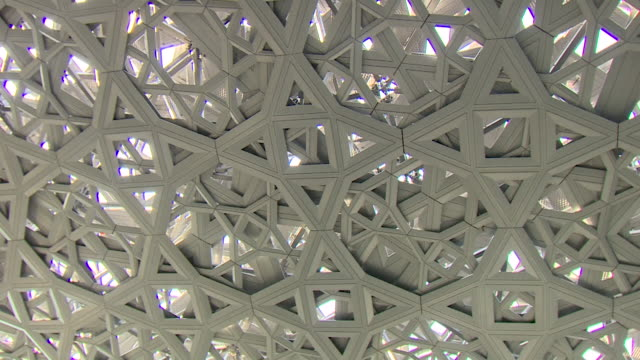 A wide pan left then pan right of the interior roof of the newly built Louvre Abu Dhabi
