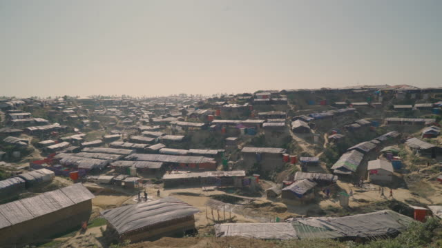 Wide pan left vista of Kutupalong refugee camp in Bangladesh Fleeing persecution by the Myanmar government and Rakhine vigilantes the Muslim Rohingya...