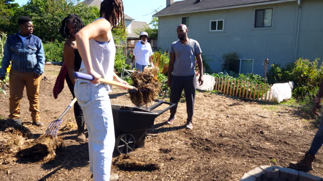 wide pan shot of friends working together on urban farm - dedication stock videos & royalty-free footage
