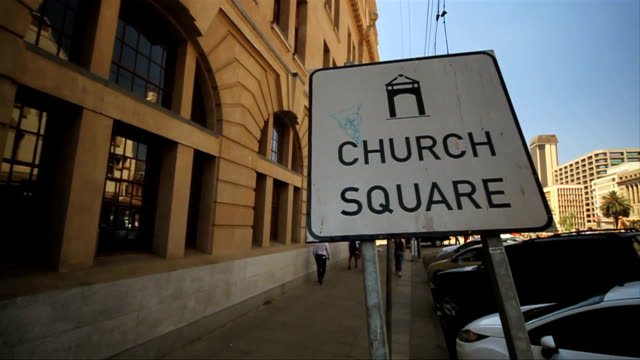 wide panning shot church square sign/ pretoria/ south africa - pretoria stock videos & royalty-free footage