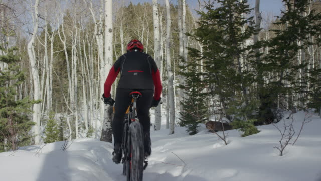 vídeos y material grabado en eventos de stock de wide panning shot of friends riding fat bikes on mountain / american fork canyon, utah, united states - american fork canyon