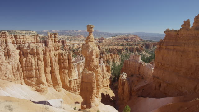 Wide panning shot of rock formations in canyon / Bryce Canyon National Park, Utah, United States