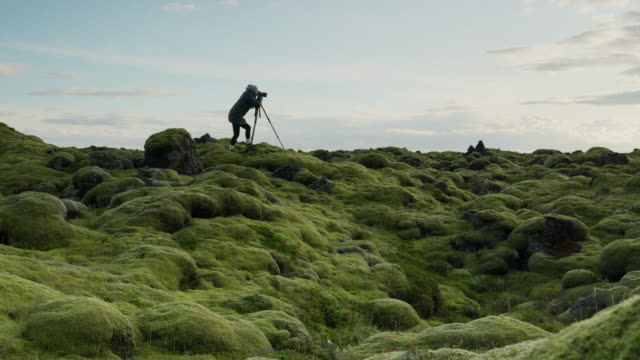 wide panning shot of silhouette of photographer in mossy landscape / iceland - fotograf stock-videos und b-roll-filmmaterial