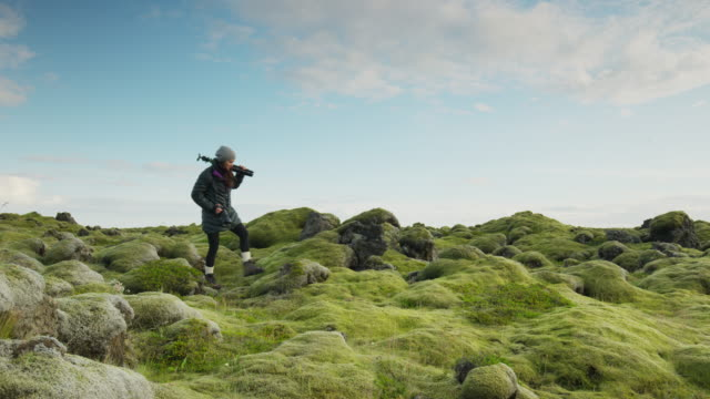 wide panning shot of woman carrying tripod in mossy landscape / iceland - photographic equipment stock videos & royalty-free footage