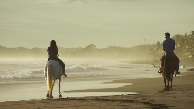 wide panning slow motion shot of couple riding horseback on beach / esterillos, puntarenas, costa rica - all horse riding stock videos and b-roll footage