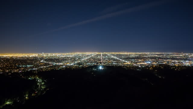 Wide Panning View of Los Angeles from Above at Night