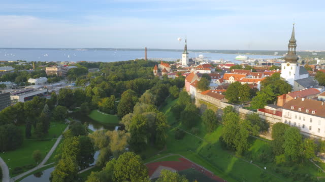 Wide panoramic aerial drone shot of Tallinn with Old Town on foreground, starting on sea with yachts
