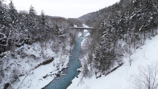 wide, river bridge in snowy hokkaido landscape - kamikawa subprefecture stock videos and b-roll footage