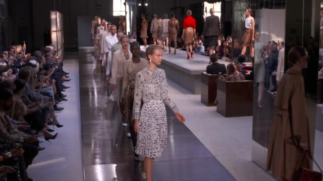 wide runway shots highlights of looks with finale and designer - spring summer collection stock videos & royalty-free footage