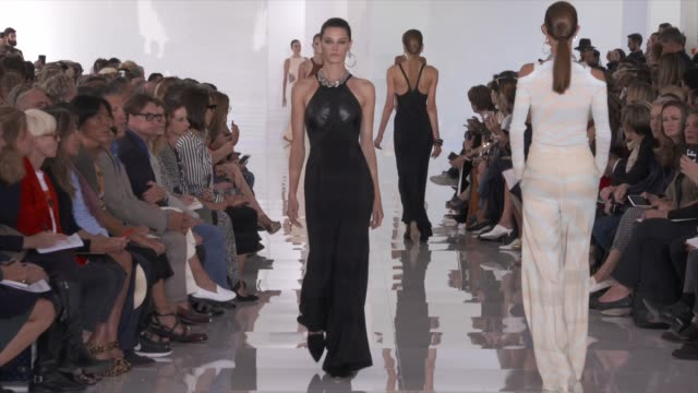 wide runway shots highlights of looks with finale and designer - roberto cavalli stock videos and b-roll footage