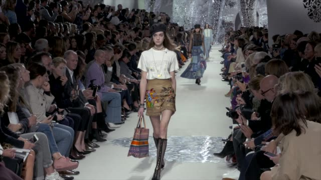 wide runway shots highlights of looks with finale and designer - marni stock videos & royalty-free footage