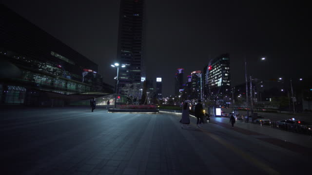wide, scenic seoul skyline at night - wide stock videos & royalty-free footage