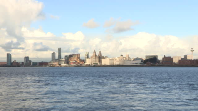 Wide shot across the River Mersey towards the sunlit Royal Liver Building and surrounding architecture, Liverpool, UK.