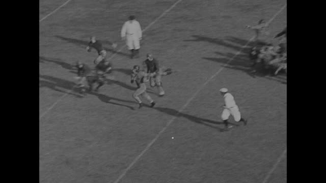 vidéos et rushes de wide shot action on field during football game between columbia university lions and stanford university cardinals / high angle shot of crowd /... - 1934